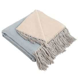Elizabeth Bamboo Throw in Blue & Barley