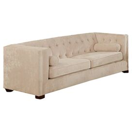 "Alexa 86"" Tufted Sofa in Almond"