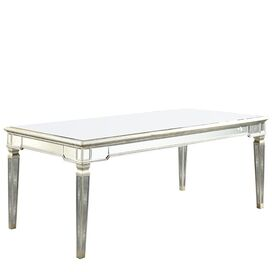 Faye Mirrored Dining Table in Silver & Clear