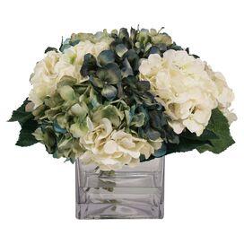 Faux White Hydrangea in Cube Vase