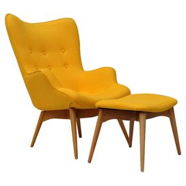 2-Piece Draper Tufted Arm Chair & Ottoman Set in Yellow