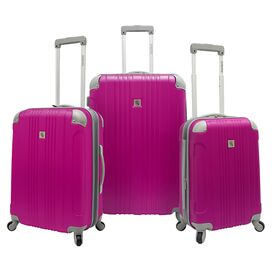 3-Piece Newport Rolling Luggage Set in Magenta