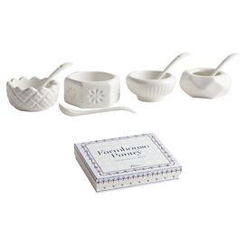 4-Piece Farmhouse Porcelain Salt & Pepper Cellar