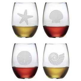 Seashore Stemless Wine Glass (Set of 4)