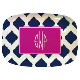 Personalized Ikat Melamine Platter