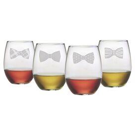 Bowtie Stemless Wine Glass (Set of 4)