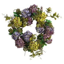 Faux Green & Purple Hydrangea Wreath