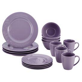 BonJour 16-Piece Paisley Dinnerware Set in Lavender