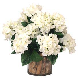 Faux White Hydrangea & Birch