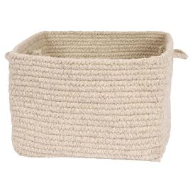 Braided Wool Storage Basket in Tan