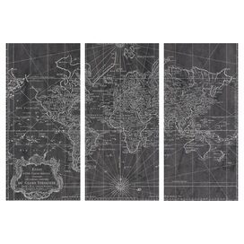 World Map 1778 Canvas Print, Oliver Gal (Set of 3)