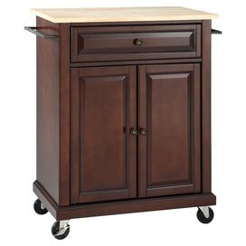 Michol Kitchen Cart in Vintage Mahogany with Wood Top