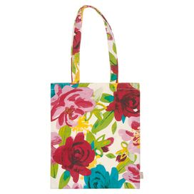 Painted Floral Canvas Tote Bag