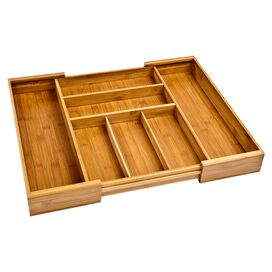 7-Compartment Bamboo Drawer Organizer