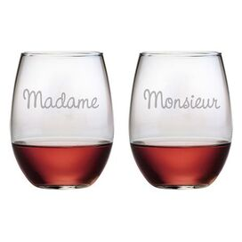 Madame et Monsieur Stemless Wine Glass (Set of 2)