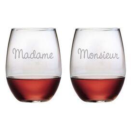 Madame et Monsieur Stemless Wine Glass (Set of 2)