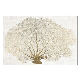 Gold Coral Fan Canvas Print, Oliver Gal