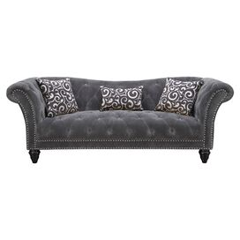 "Faye 92"" Tufted Sofa in Thunder Grey"