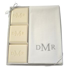15-Piece Personalized Silver Soap & Towel Set