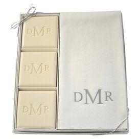 15-Piece Personalized Silver Soap & Towel Set