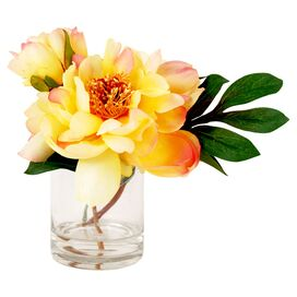 "Faux 9"" Yellow Peony"
