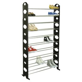 Marley 50-Pair Shoe Rack in Black