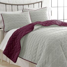 3-Piece Kayla Coverlet Set in Plum & Silver