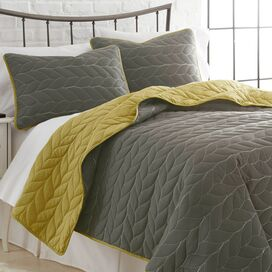 3-Piece Kayla Coverlet Set in Gray & Mustard