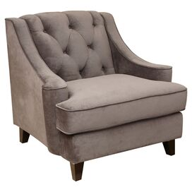 Emily Tufted Velvet Arm Chair in Gray