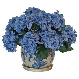 Faux Blue Hydrangea in Ceramic Pot