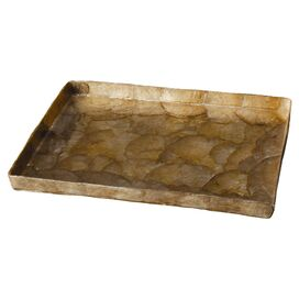 Alma Capiz Tray in Smoke Gold