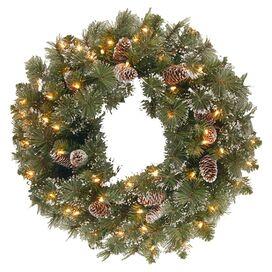 Pre-Lit Faux Indoor/Outdoor Glitter Pine Wreath