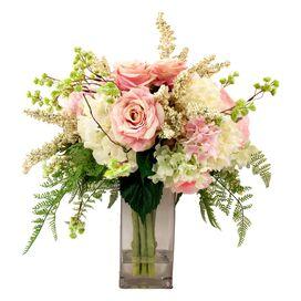 Faux Pink Rose & Hydrangea