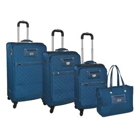 4-Piece Quinn Rolling Luggage Set in Teal
