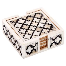 5-Piece Alhambra Bone Coaster & Tray Set in White