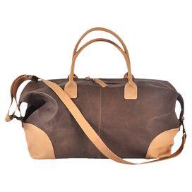 Leslie Leather Weekender in Tan & Brown