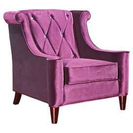 Barrister Velvet Arm Chair in Purple