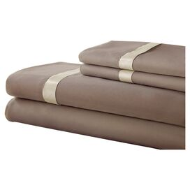 Gilda Sheet Set in Mocha & Pristine