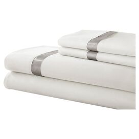 Satin Band Sheet Set in White & Silver
