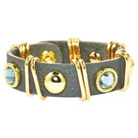 Talley Leather Bracelet by Meghan Browne in Gray