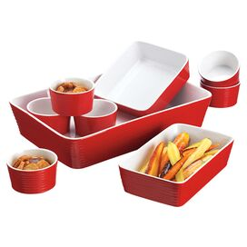 9-Piece Holly Bakeware Set in Red
