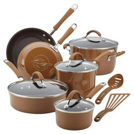 Rachael Ray 12-Piece Cucina Cookware Set in Mushroom Brown