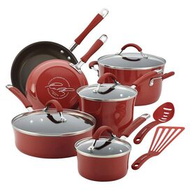 Rachael Ray 12-Piece Cucina Cookware Set in Cranberry Red