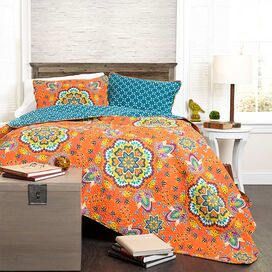 Addington Quilt Set in Tangerine