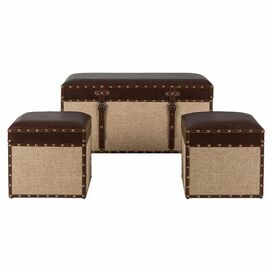 3-Piece Mia Storage Ottoman & Trunk Set