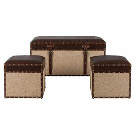 3-Piece Mia Storage Ottoman & Trunk Set