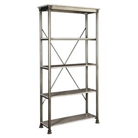 Orleans 4-Shelf Bookcase in Marble & Chrome