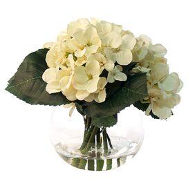 Faux Cream Hydrangea in Glass Vase