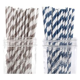 Ella Paper Straw in Navy & Gray (Set of 50)