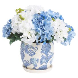 Faux Blue & White Hydrangea in Pot